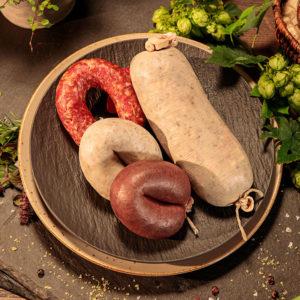 Original Thüringer Hauschlachtene Wurst, Bratwurst, frische Blutwurst, frische Leberwurst, frische Sülzwurst